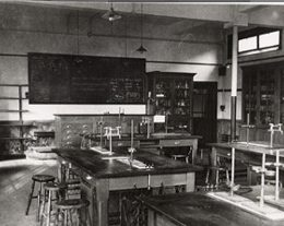 Chemistry Room 13 with Mr R J Kernohan's writing on the board